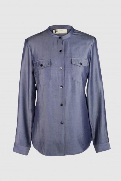 Gerade Bluse mit Stehkragen & Brusttaschen
